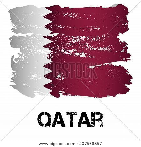Flag of Qatar from brush strokes in grunge style isolated on white background. Arab constitutional monarchy in Persian Gulf in Western Asia. Vector illustration