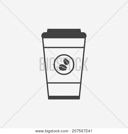 Disposable coffee cup monochrome icon on white background. Coffee takeaway.