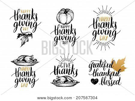 Vector Thanksgiving lettering for invitations or festive greeting cards. Handwritten calligraphy set Grateful Thankful Blessed etc.