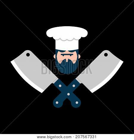 Butcher Logo. Chef And Knife For Meat. Steak House Label. Butcher Knife. Sign For Restaurant Or Butc