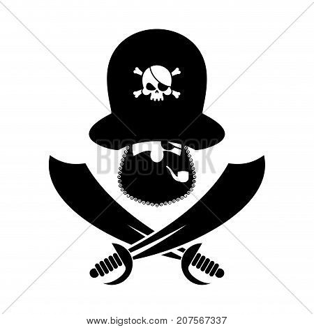 Pirate Logo. Head Of Buccaneer And Sabers. Pirate Symbol. Vector Illustration