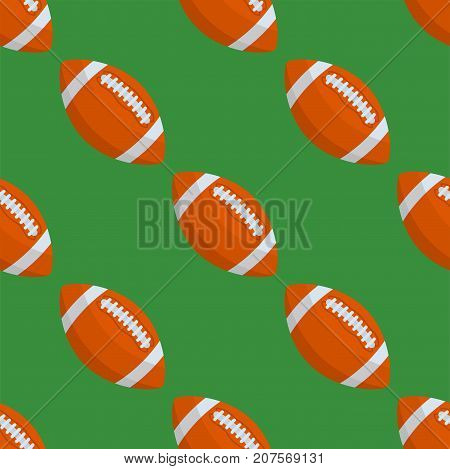Seamless pattern with rugby ball vector championship symbol american game tile shape sport backdrop. Round championship graphic texture geometric wallpaper.