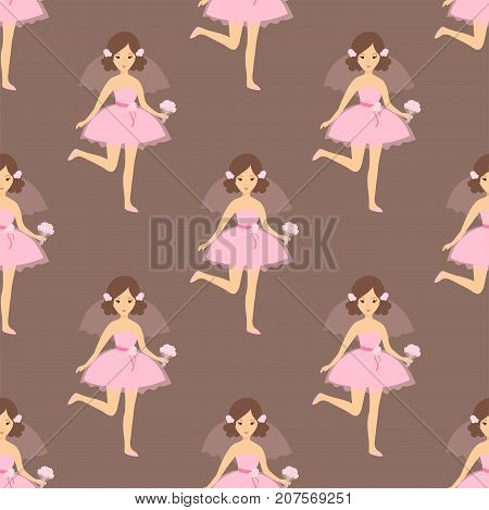 Wedding brides characters vector illustration seamless pattern. Celebration fashion woman cartoon girl white ceremony dress. Romance veil woman ceremony marriage love beautiful wear.