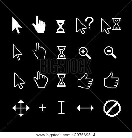 Cursor arrow, hand, hourglass, magnifier, thumb up.