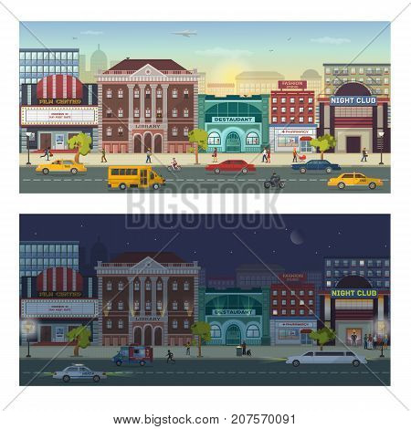 Modern urban architecture building cityscape skyline day and night megapolice city view background vector illustration. Metropolis district skyscraper construction real estate.