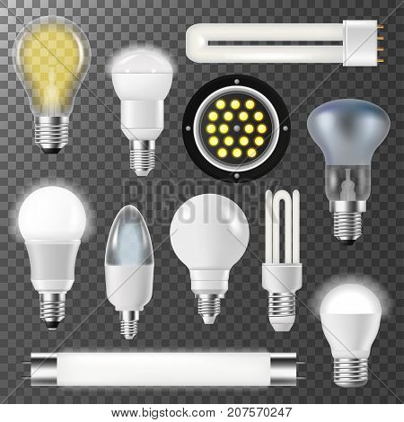 Incandescent lamps realistic light bulbs fluorescent energy saving bubbles bright illuminated inspiration electrical glass vector illustration. Creative transparent glowing.