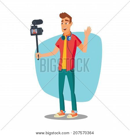 Video Blogger Vector. Classic Man Blogger With Camera. Records Video Blog. Isolated On White Cartoon Character Illustration
