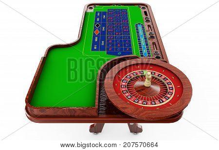 casino roulette wheel with casino chips isolated on green casino table realistic objects 3d render