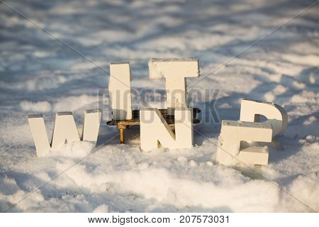 winter. letters in snow, wintertime, season, christmas