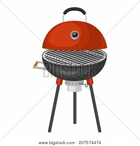 Barbecue home cooking or restaurant rarty dinner bbq for grilling and kitchen equipment vector flat illustration. Barbecue kebab equipment.