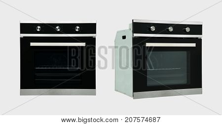 modern household kitchen oven in two review provisions on a white background