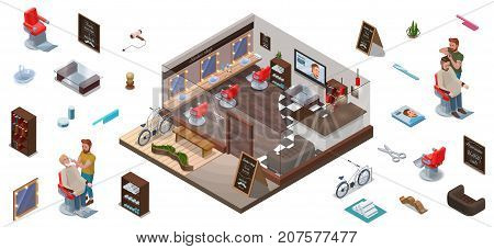 Isometric infographic 3d barber shop interior constructor hairdresser cutting hair or beard characters collection for creation hipster hair salon with people barbershop chair bicycle scissors