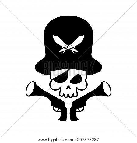 Pirate Skull Logo. Head Of Skeleton And Gun. Pirate Symbol. Vector Illustration
