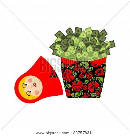 Matryoshka And Money. Cash And Russian National Doll. Political Vector Illustration