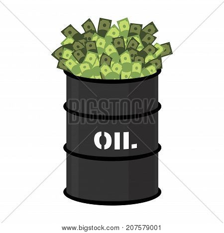 Barrel Of Oil And Money. Barrel And Cash. Vector Illustration