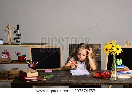 Schoolgirl Talks And Draws In Art Book. Girl At Desk