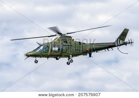 SLiAC SLOVAKIA - AUGUST 27: Helicopter Augusta A-109 at airshow SIAF 2017 on August 27 2017 in Sliac