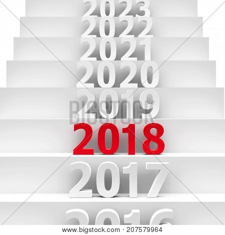 2018 future on podium represents the new year 2018 three-dimensional rendering 3D illustration