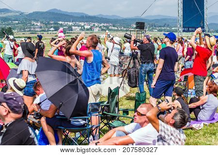 SLIAC SLOVAKIA - AUGUST 27: People watching on the sky at airshow SIAF 2017 on August 27 2017 in Sliac