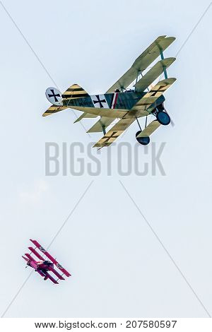 SLIAC SLOVAKIA - AUGUST 27: Dogfight between triplanes at airshow SIAF 2017 on August 27 2017 in Sliac