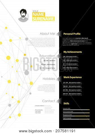 Creative simple cv template with yellow and grey circles and dots on web.