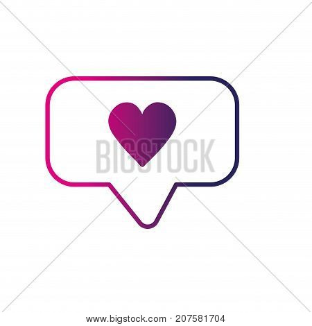 line chat bubble with heart design inside vector illustration