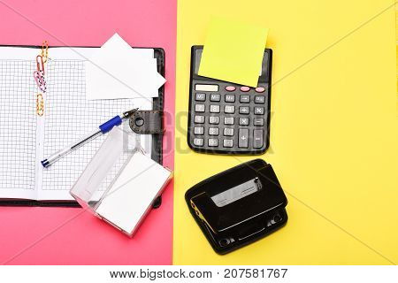 Business And Work Concept: Calculator And Stationery