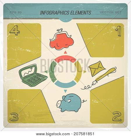 Retro infographic with budget divided according to different needs accumulation spending calculations vector illustration