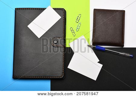 Wallet And Office Tools Isolated On Colourful Background