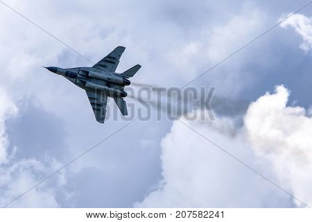 SLIAC SLOVAKIA - AUGUST 27: Mig-29 Fulcrum at airshow SIAF 2017 on August 27 2017 in Sliac