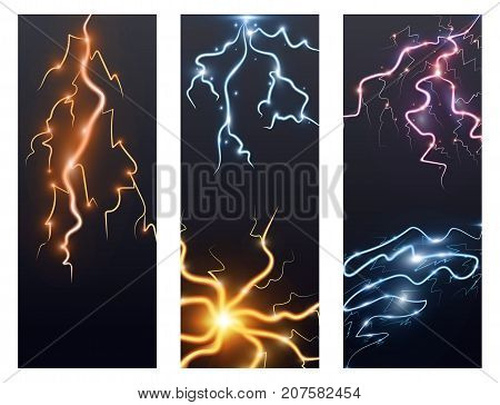 Power energy thunderbolt realistic lightnings with transparency flayer brochure thunder-storm magic and bright lighting effects vector illustration. Natural lightning bolt