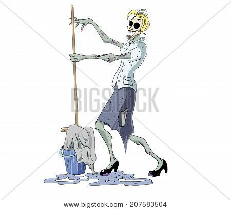 Zombie cleaning lady with a mop, cartoon image. Artistic freehand drawing. Authentic cartoon.