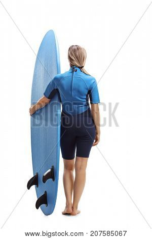 Full length rear view shot of a female surfer with a surfboard isolated on white background