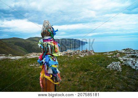 Holy place of shamans in the lake Baikal shoreline, Aya bay.