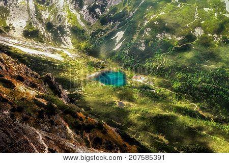 Tarn Zelene pleso in High Tatras mountains from hill Velka Svistovka Slovakia