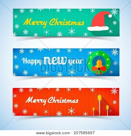 Christmas and New Year horizontal banners with Santa hat jingle bell lamps in flat style vector illustration