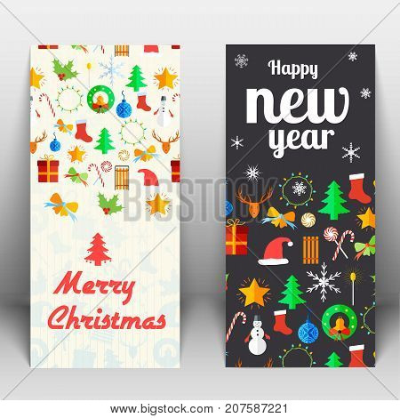 Holidays greeting cards with Christmas and New Year signs elements and items isolated vector illustration