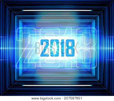 Technology background with transparent figures 2018 for New Year