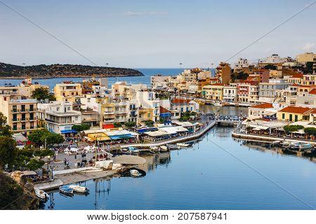 Agios Nikolaos, Crete, Greece - June 08, 2017: Agios Nikolaos Town At Summer Afternoon. Agios Nikola