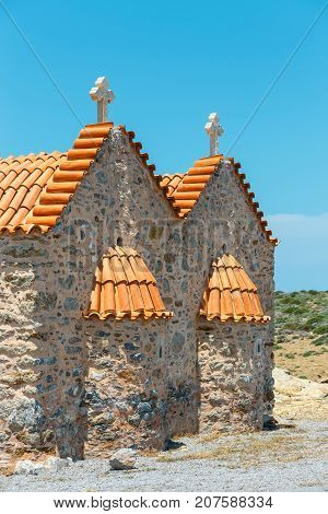 Monastery Of Toplou Near Vai Beach,.crete Island In Greece