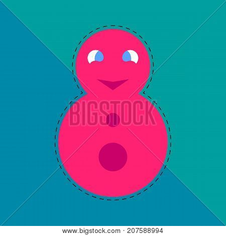 matryoshka. red russian doll. pink roly-poly toy. abstract colored background. vector illustration.