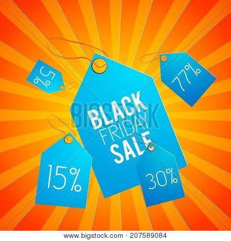 Light blue black friday sale tag set with percentages orange stripes background vector illustration