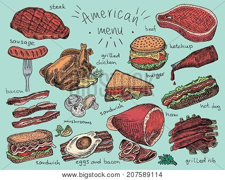 American menu, snack, ham, cheese, steak, hamburger, mushroom, bread, ribs, burger, fastfood, sandwich, grill, chicken, eggs, sausage, bacon, ketchup, fries