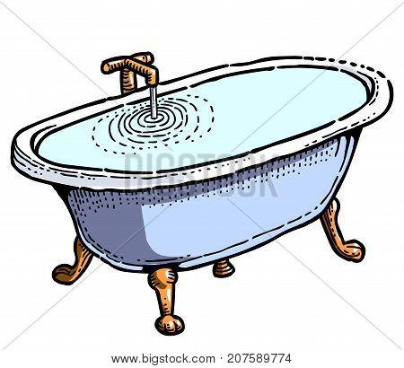 Full bathtub cartoon image. Artistic freehand drawing. Authentic cartoon.