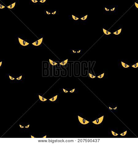 Strange scary eyes in the dark halloween seamless vector pattern