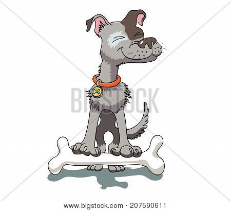 Happy dog with bone, cartoon image. Artistic freehand drawing. Authentic cartoon.