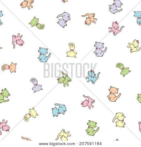 Seamless pattern with cute colorful kitties isolated on white background. Vector illustration.