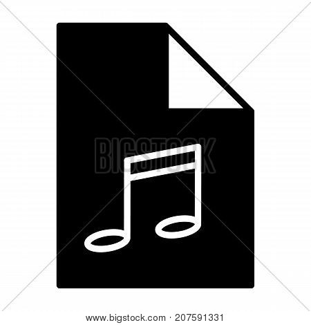 Music file silhouette icon. Audio format. Mp3 symbol. Flat design style. Modern vector pictogram for web graphics