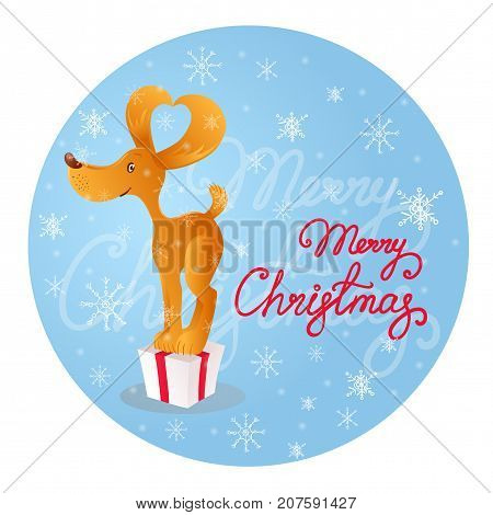 Vector illustration in cartoon style of a cute smiling yellow dog standing on the gift box. Blue background with white snowflakes and red lettering Merry Christmas.