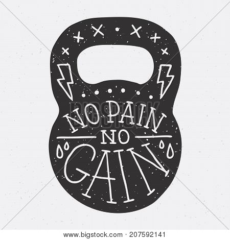 No pain no gain gym kettle bell vector illustration on grey